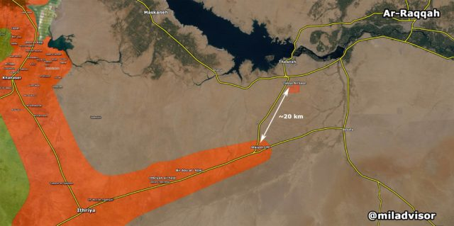 The SAA offensive along the road from Ithiriya to Raqqa has now reached Sfaiyeh crossroad, just 20km soith of the key airbase of Tabqa