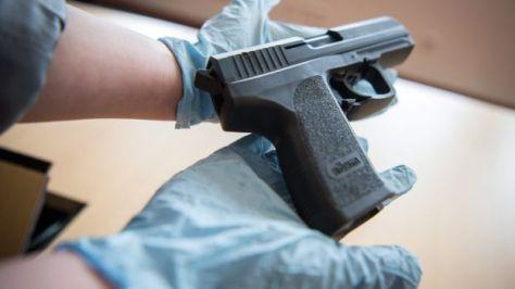 A pistol seized by German police in Wiesbaden, 29 February 2016