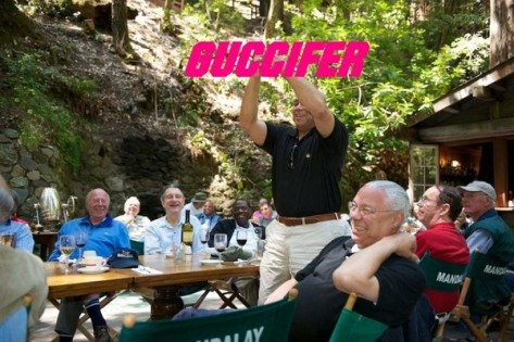 Colin Powell pictured at the Bohemian Grove in a photo hacked by Guccifer