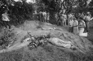 The shallow grave of U.S. nuns exhumed in 1980 in front of 15 reporters and the U.S. ambassador to El Salvador, Robert White