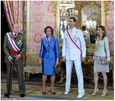 King Juan Carlos of Spain with Queen Sofia, Prince Phillipe VI and Princess Letizia