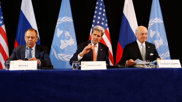 DIPLOMATS AGREE TO TEMPORARY SYRIA CEASE-FIRE - U.S. Secretary of State John Kerry, center, Russian Foreign Minister Sergey Lavrov, left, and UN Special Envoy for Syria Staffan de Mistura, right, announce Syria ceasefire.